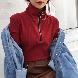 Tops - Deep Red Turtleneck with Ring Zipper Details